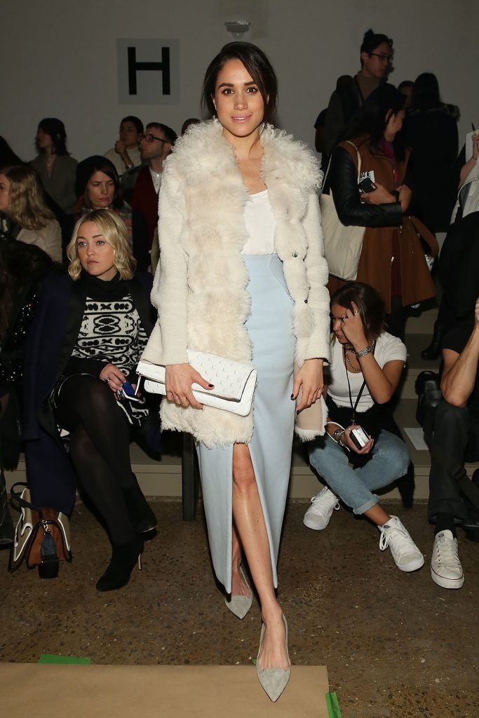 Meghan Markle attends Wes Gordon runway show during MADE Fashion Week Fall 2015 at Milk Studios on February 13, 2015 in New York City.  (Photo by Mireya Acierto/Getty Images)
