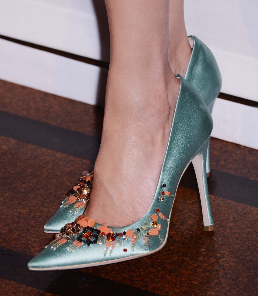 Shoe detail of Meghan Markle as she attends The UJA-Federation of New York's Entertainment Division Signature Gala at 583 Park Avenue on June 2, 2015 in New York City.  (Photo by Stephen Lovekin/Getty Images)