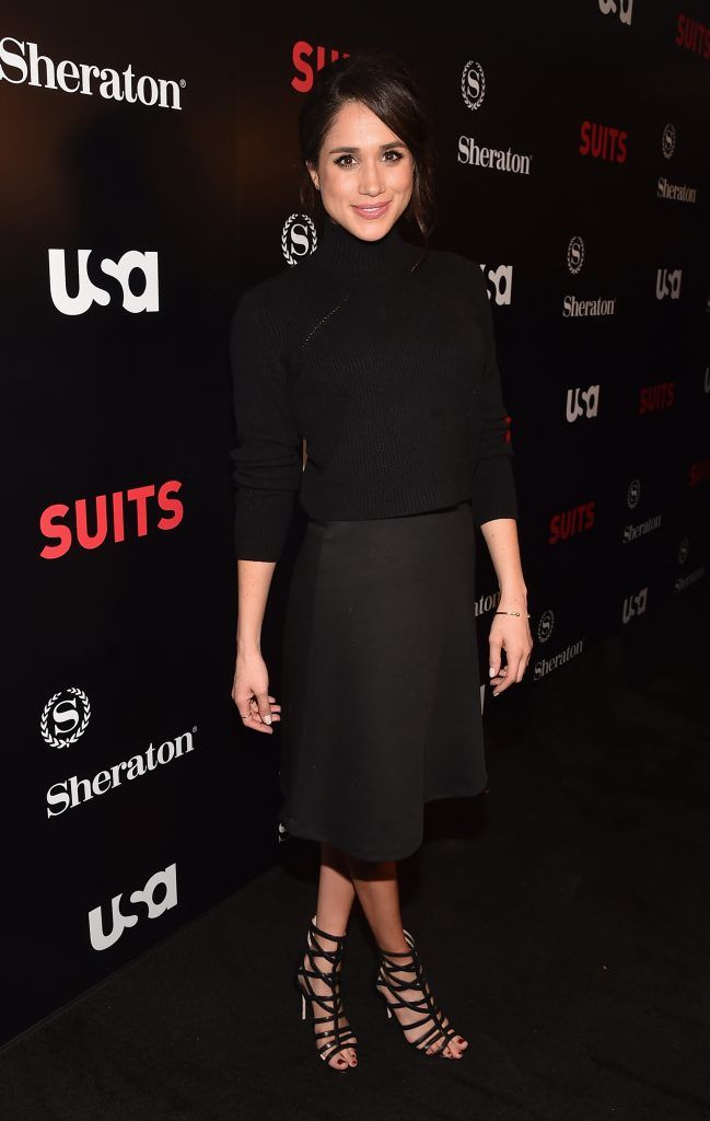"""Meghan Markle attends the premiere of USA Network's """"Suits"""" Season 5 at the Sheraton Los Angeles Downtown Hotel on January 21, 2016 in Los Angeles, California.  (Photo by Alberto E. Rodriguez/Getty Images)"""