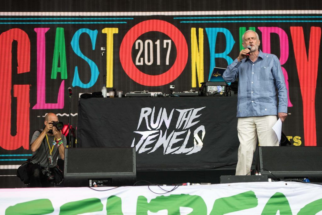 Jeremy Corbyn speaks on stage on day 3 of the Glastonbury Festival 2017 at Worthy Farm, Pilton on June 24, 2017 in Glastonbury, England.  (Photo by Ian Gavan/Getty Images)