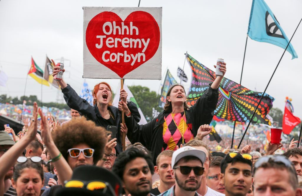 Crowds cheer Labour Party leader Jeremy Corbyn address the crowd from the main stage a the Glastonbury Festival site at Worthy Farm in Pilton on June 24, 2017 near Glastonbury, England. (Photo by Matt Cardy/Getty Images)
