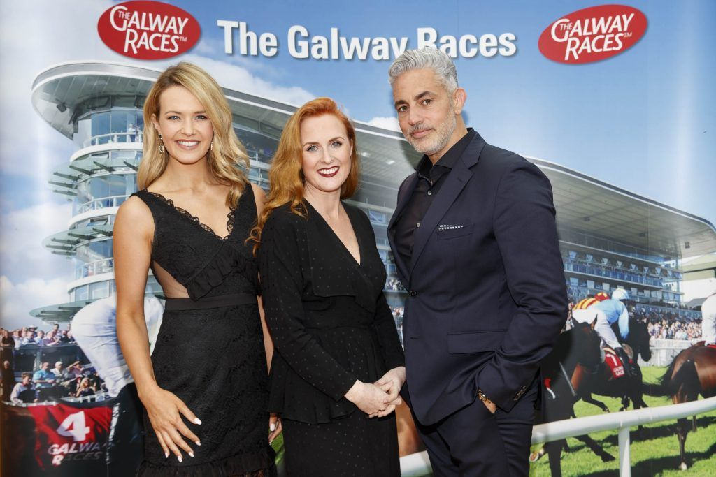 Aoibhin Garrihy and Baz Ashmawy with g Hotel General Manager Triona Gannon (centre) pictured at the launch of the Galway Races Summer Festival where the judges for the g Hotel Best Dressed Lady and the g Hotel Best Hat were revealed. The event will take place on August 3rd #gHotelBestDressed. Picture by Andres Poveda