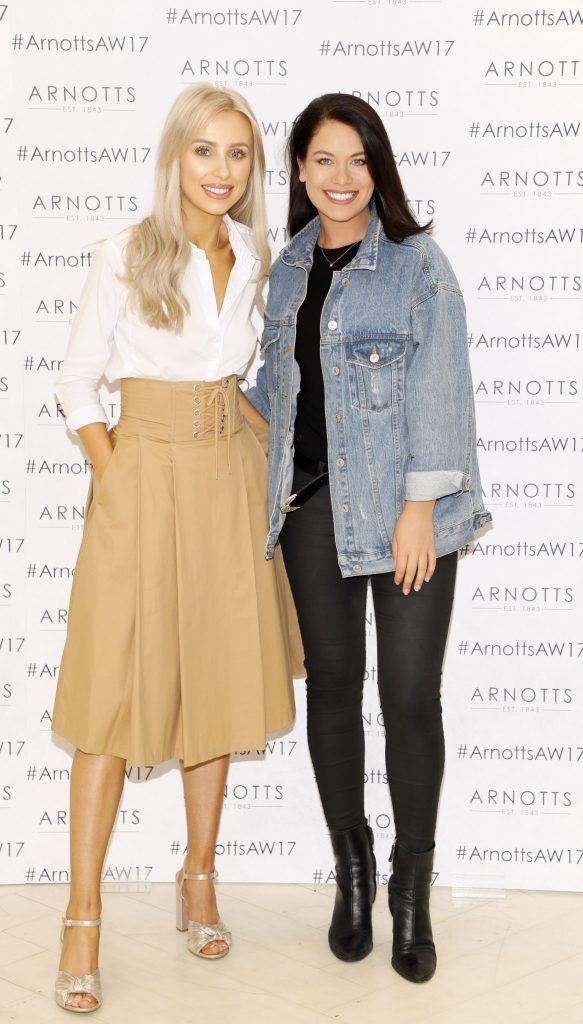 Rosie Connolly and Michelle McGrath at the Arnotts Autumn Winter 2017 Womenswear Collection Preview. Photo by Kieran Harnett