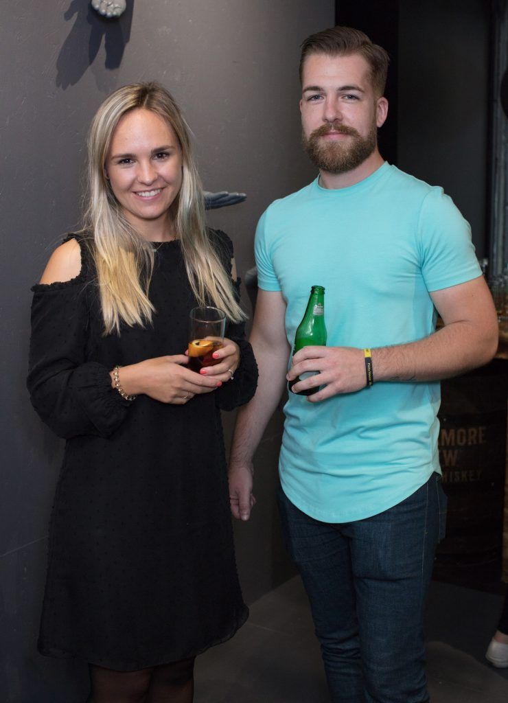 Anouk Schiegg & Ryan Hatfield pictured at the first ever Lynx pop-up shop in Ireland. Guys can drop into 60 South William Street to avail of haircuts from Lynx grooming experts - redeemable with product. Photo: Anthony Woods