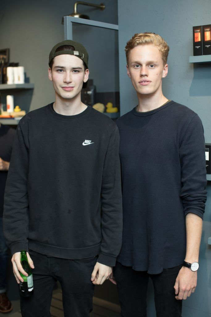 Conor Gonzales & Dan Baronetti pictured at the first ever Lynx pop-up shop in Ireland. Guys can drop into 60 South William Street to avail of haircuts from Lynx grooming experts - redeemable with product. Photo: Anthony Woods