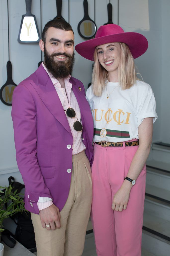 Jake McCabe & Niamh O'Donoghue pictured at the first ever Lynx pop-up shop in Ireland. Guys can drop into 60 South William Street to avail of haircuts from Lynx grooming experts - redeemable with product. Photo: Anthony Woods