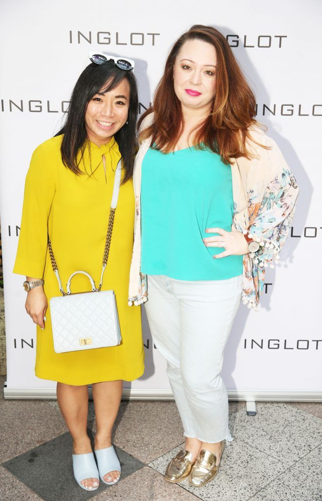 Ella Deguzman and Gemma Burke pictured at the launch of Inglot's new 'Signature Collection' of eyeshadow palettes in Nolita's garden terrace. Photograph: Leon Farrell / Photocall Ireland
