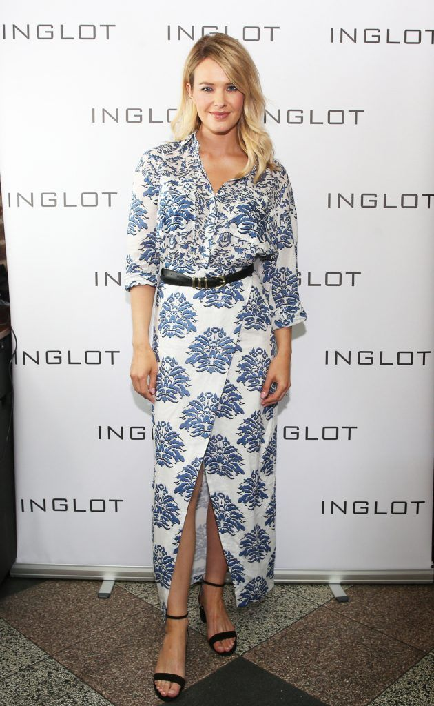 Aoibhin Garrihy pictured at the launch of Inglot's new 'Signature Collection' of eyeshadow palettes in Nolita's garden terrace.Photograph: Leon Farrell / Photocall Ireland