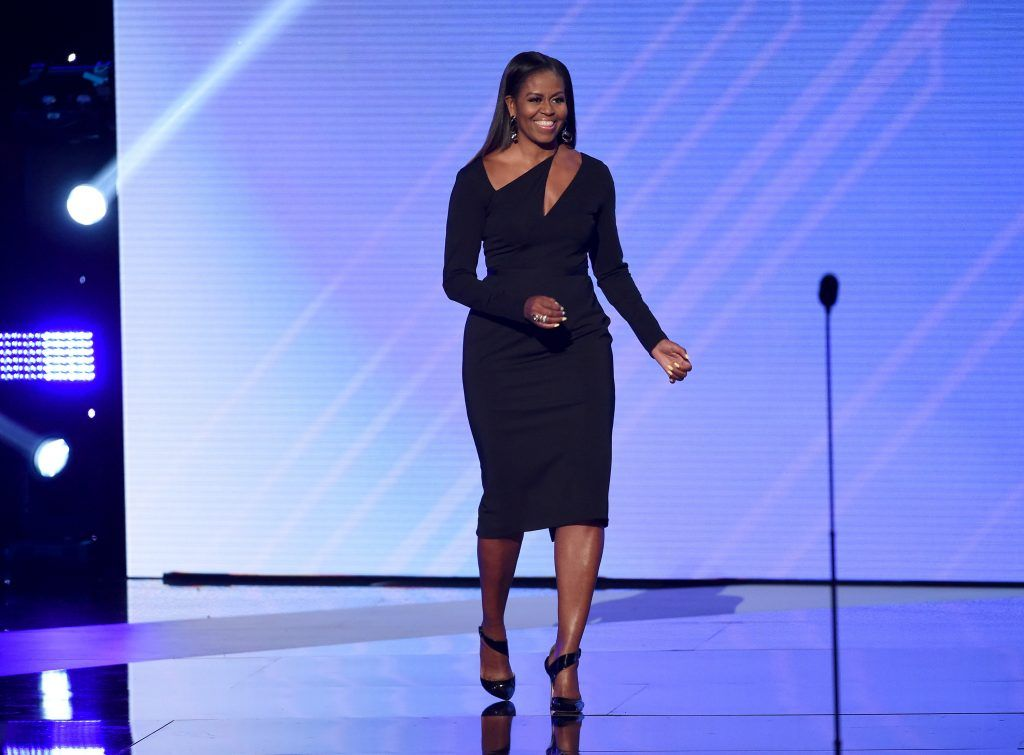 Michelle Obama speaks onstage at The 2017 ESPYS at Microsoft Theater on July 12, 2017 in Los Angeles, California.  (Photo by Kevin Winter/Getty Images)