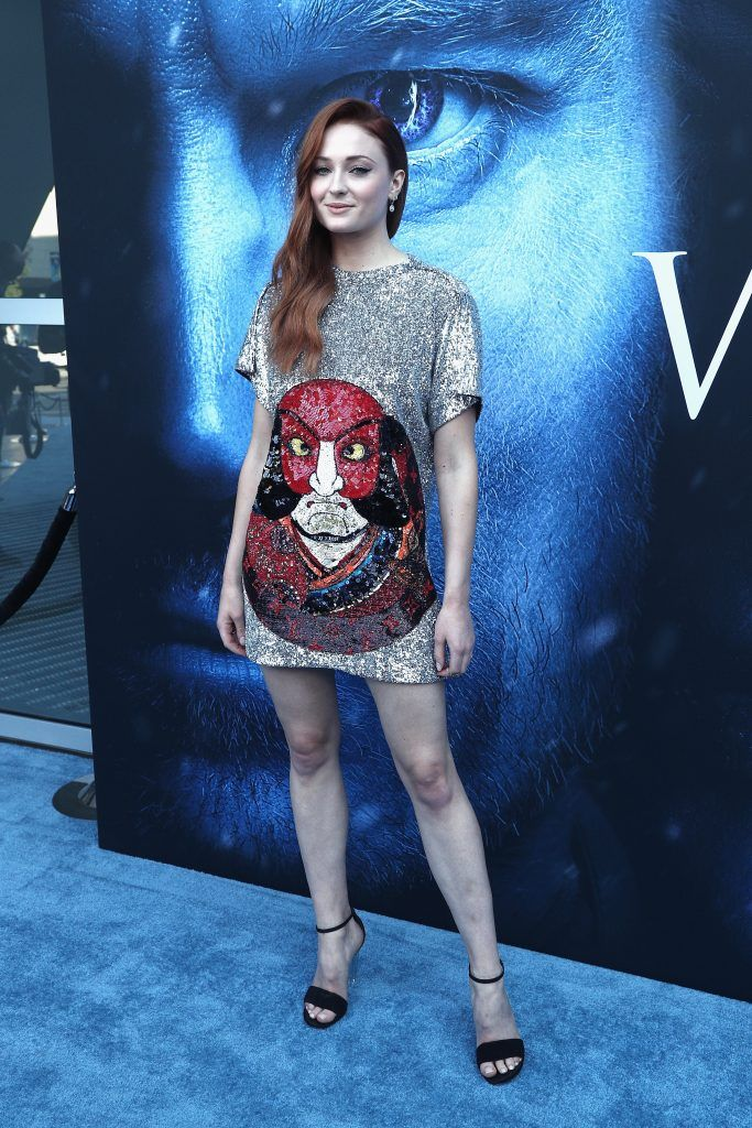 """Actor Sophie Turner attends the premiere of HBO's """"Game Of Thrones"""" season 7 at Walt Disney Concert Hall on July 12, 2017 in Los Angeles, California.  (Photo by Frederick M. Brown/Getty Images)"""