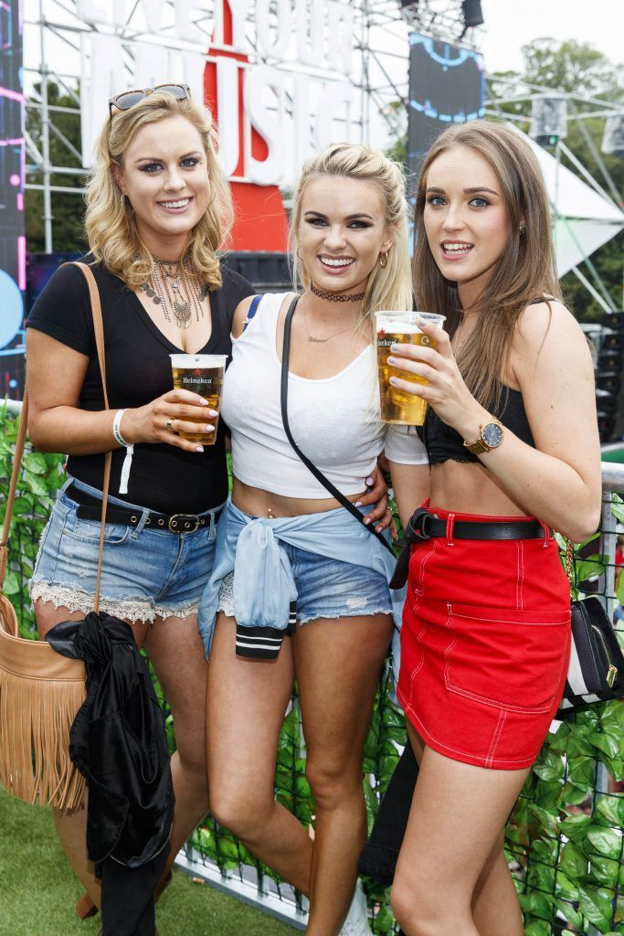 Lisa Boland, Lesley-Anne Merigan and Eleanor Martin pictured at the Heineken 'Live Your Music' area, a new music experience that the crowd can control, at Longitude Festival 2017, Marlay Park. Picture by Andres Poveda