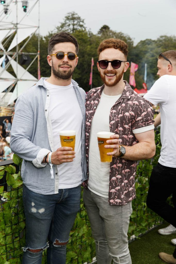 Eoin Moynahan and Darragh Coates pictured at the Heineken 'Live Your Music' area, a new music experience that the crowd can control, at Longitude Festival 2017, Marlay Park. Picture by Andres Poveda
