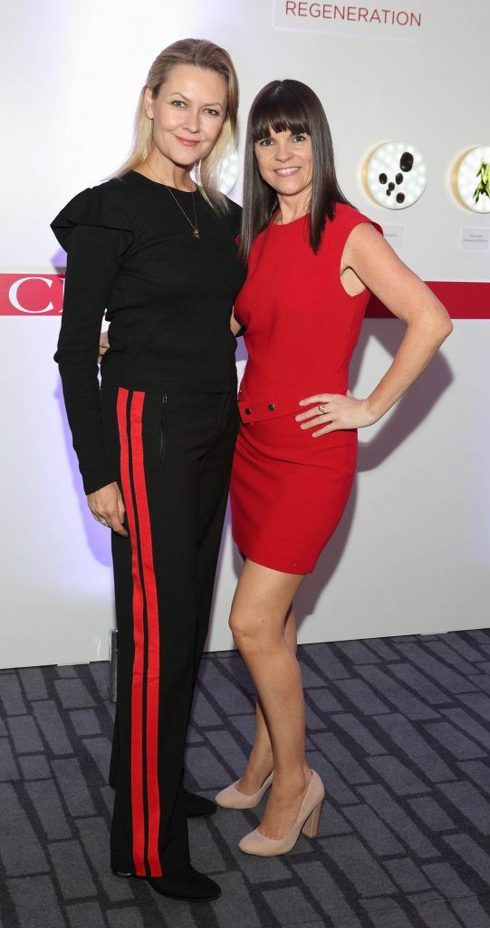 Laura Bermingham and Marrita Coyne at the unveil of the 8th Generation of Clarins Double Serum at the Marker Hotel, Dublin. Photo by Brian McEvoy Photography