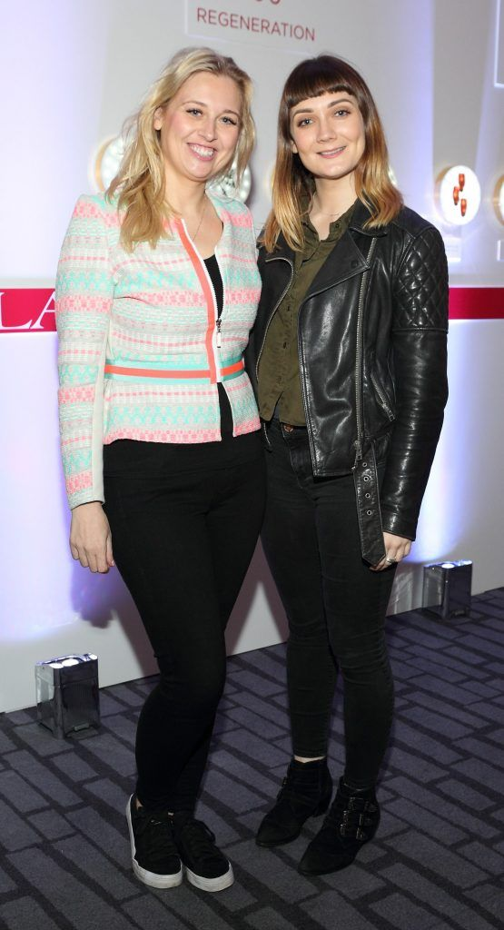 Andrea Kissane and Sharon Gray at the unveil of the 8th Generation of Clarins Double Serum at the Marker Hotel, Dublin. Photo by Brian McEvoy Photography