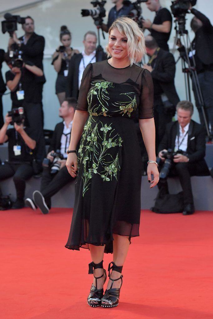 "Italian singer Eva Marrone arrives at the premiere of the movie ""The Shape of Water"" presented in competition ""Venezia 74"" at the 74th Venice Film Festival on August 31, 2017 at Venice Lido.  (Photo by TIZIANA FABI/AFP/Getty Images)"