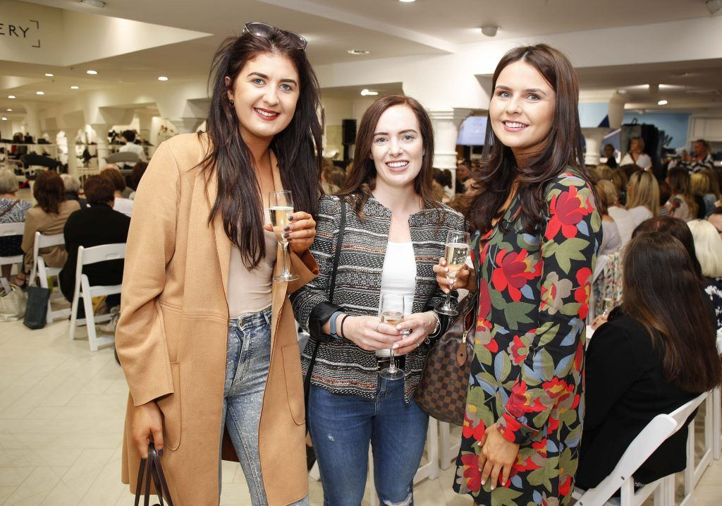 Niamh Crummey, Lorraine Farrell and Sarah Cassidy at the Pippa O'Connor 'Step into Style' event in the newly opened Arnotts Shoe Gallery. Picture: Conor McCabe Photography.