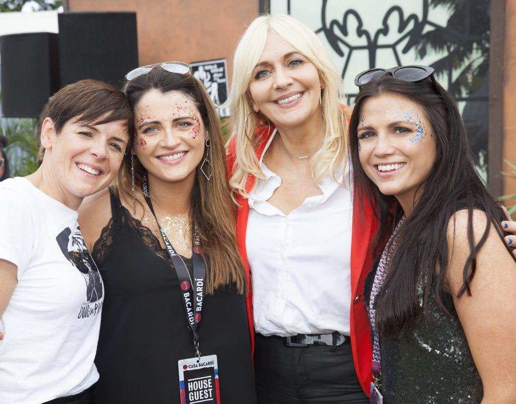Pictured are Karen McNamara, Maura Lewis and Ann-Marie Lewis from Mitchelstown, County Cork with Miriam O'Callaghan enjoying Stradbally's ultimate party at Casa Bacardi 2017. Bacardi rum returned to a sold out Electric Picnic, boasting a stellar line-up of international DJ's as well as top home grown Irish talent. Picture: Kinlan Photography.
