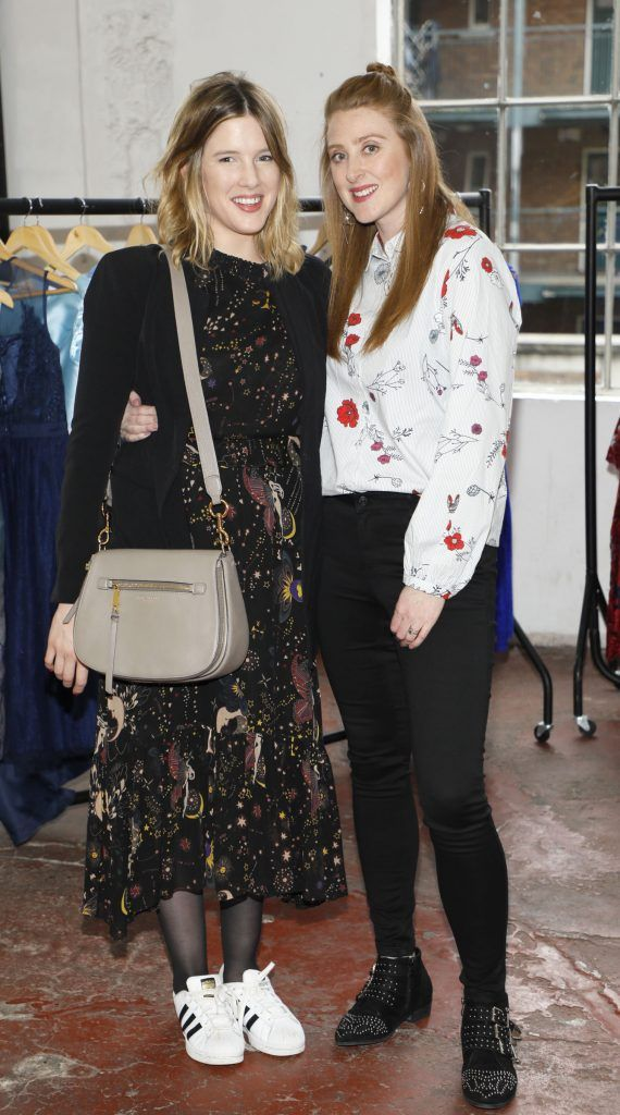 Elle Gordon and Grainne Quinn at the iclothing.ie Autumn Winter '17 launch held at the Chocolate Factory. Photo Kieran Harnett