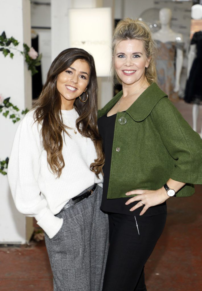 Sarah Jane Foster and Denise Horan at the iclothing.ie Autumn Winter '17 launch held at the Chocolate Factory. Photo Kieran Harnett