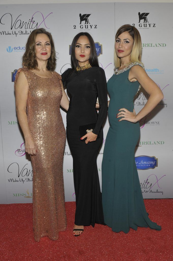 Fatima Mennad,Chahiniz and Yasmin Ajizi at the Best of Irish Beauty and Brains Vie For Miss Ireland 2017 Victory. Photo by Patrick O'Leary