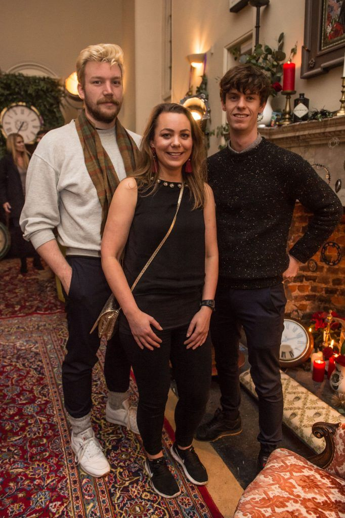 Harry Colley, Laura Packenham and Jack Gibson at the exclusive launch of Hendrick's 'The Illustrious Manor of Eminence' at Tailor's Hall, Back Lane, Dublin 8. Photo: RuthlessImagery
