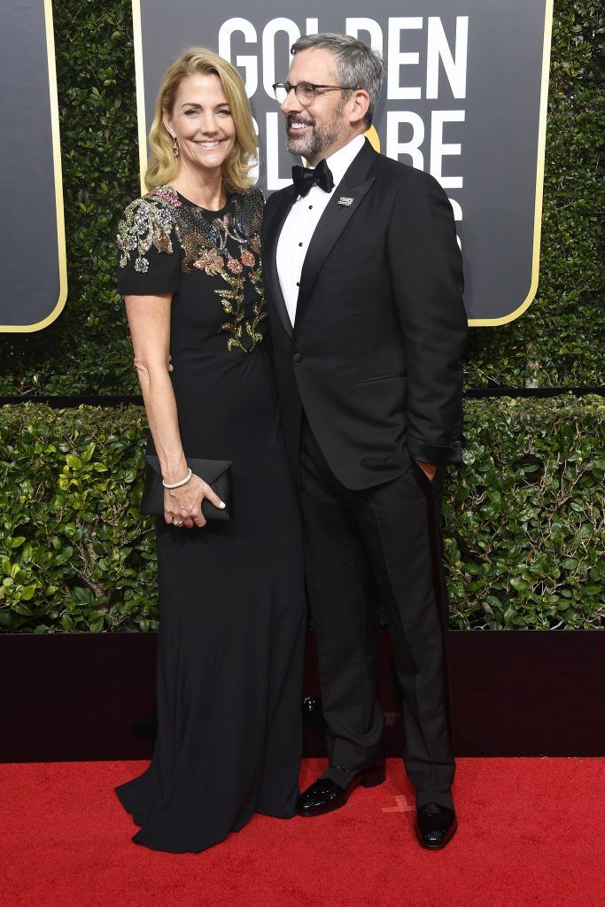 BEVERLY HILLS, CA - JANUARY 07:  Actor Steve Carell (R) and Nancy Carell attend The 75th Annual Golden Globe Awards at The Beverly Hilton Hotel on January 7, 2018 in Beverly Hills, California.  (Photo by Frazer Harrison/Getty Images)