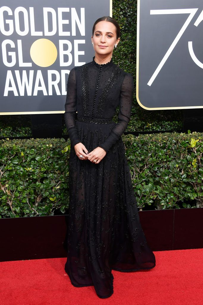 BEVERLY HILLS, CA - JANUARY 07:  Actor Alicia Vikander attends The 75th Annual Golden Globe Awards at The Beverly Hilton Hotel on January 7, 2018 in Beverly Hills, California.  (Photo by Frazer Harrison/Getty Images)