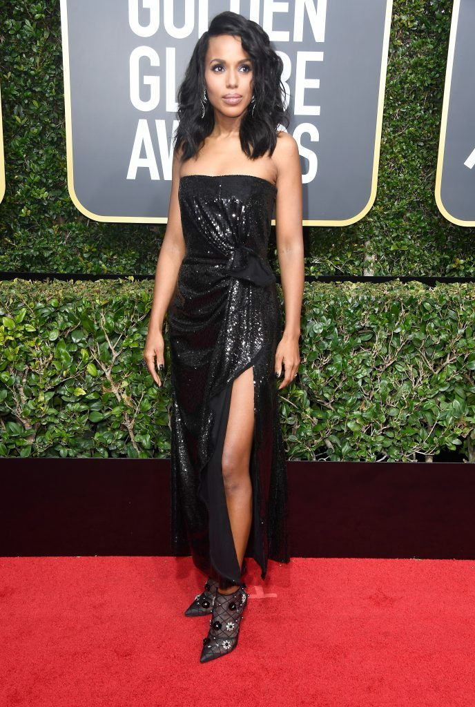 BEVERLY HILLS, CA - JANUARY 07:  Actor Kerry Washington attends The 75th Annual Golden Globe Awards at The Beverly Hilton Hotel on January 7, 2018 in Beverly Hills, California.  (Photo by Frazer Harrison/Getty Images)