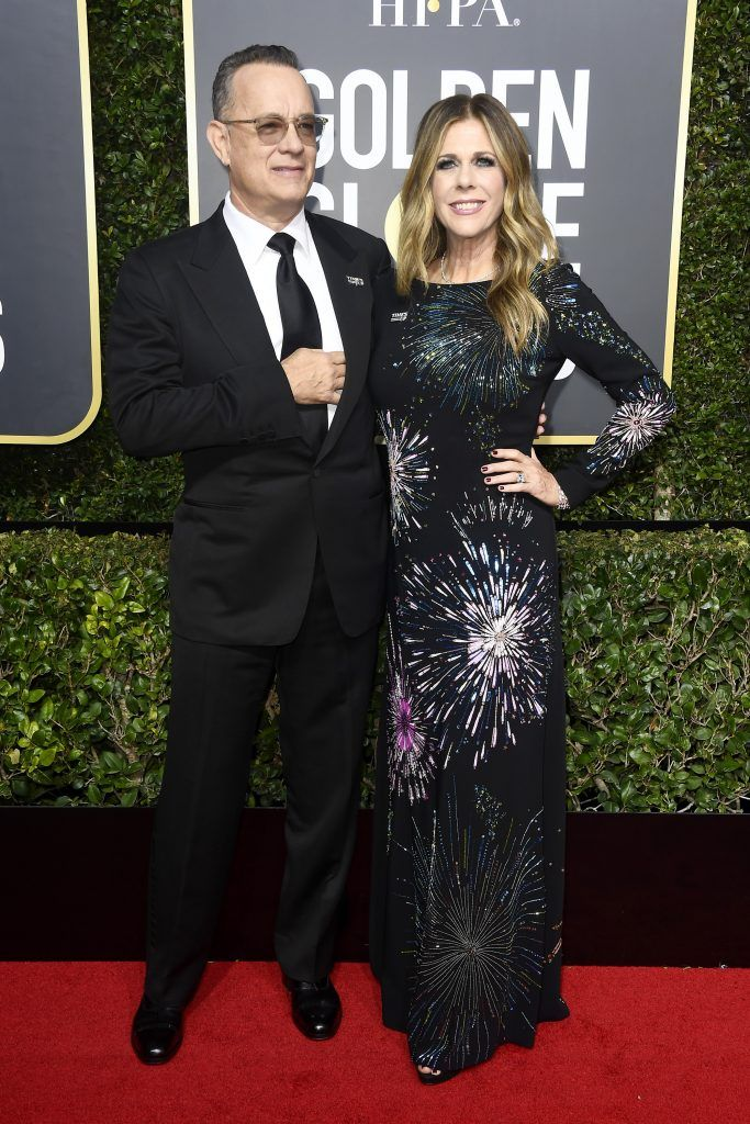 BEVERLY HILLS, CA - JANUARY 07: Tom Hanks and Rita Wilson attend The 75th Annual Golden Globe Awards at The Beverly Hilton Hotel on January 7, 2018 in Beverly Hills, California.  (Photo by Frazer Harrison/Getty Images)
