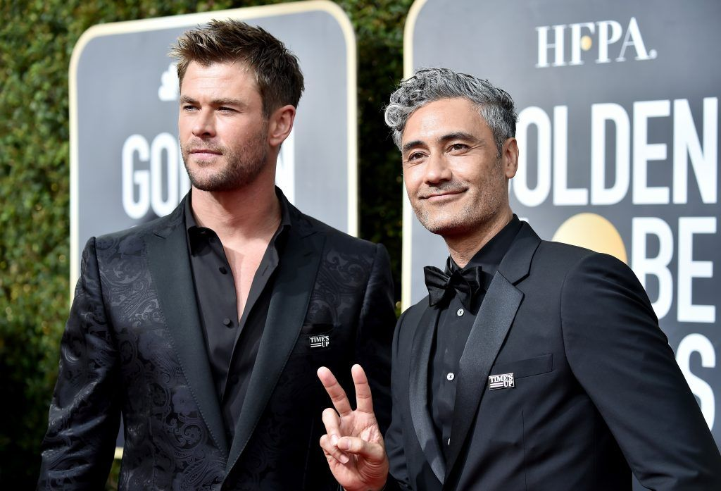 BEVERLY HILLS, CA - JANUARY 07: Chris Hemsworth and Taika Watiti attend The 75th Annual Golden Globe Awards at The Beverly Hilton Hotel on January 7, 2018 in Beverly Hills, California.  (Photo by Frazer Harrison/Getty Images)