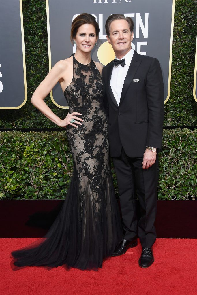 BEVERLY HILLS, CA - JANUARY 07: Desiree Gruber and Kyle McLachlan attend The 75th Annual Golden Globe Awards at The Beverly Hilton Hotel on January 7, 2018 in Beverly Hills, California.  (Photo by Frazer Harrison/Getty Images)