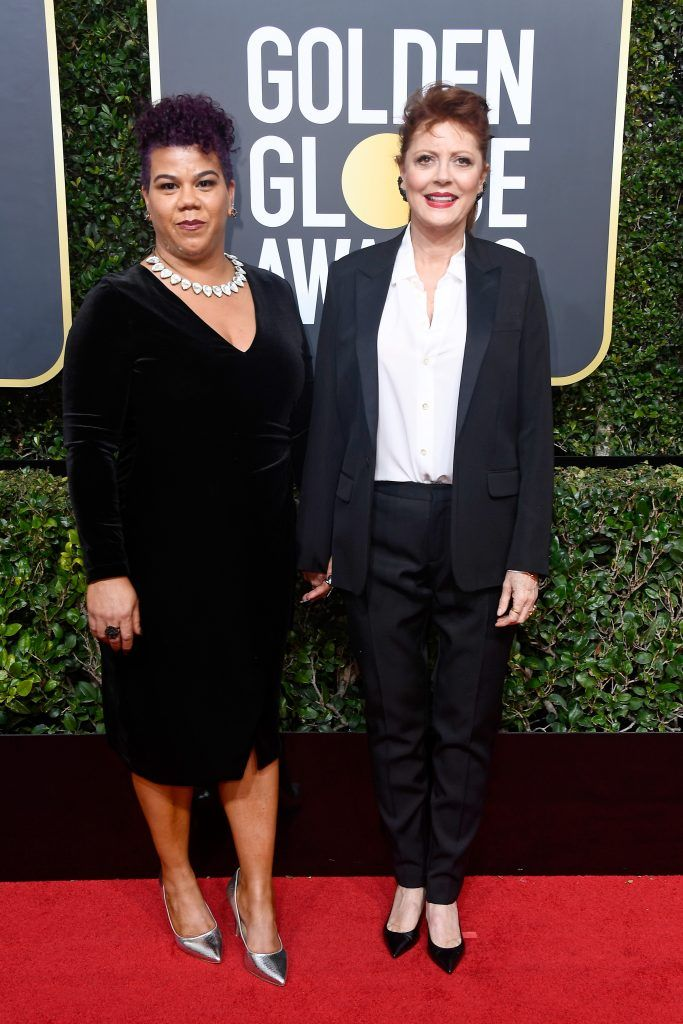 BEVERLY HILLS, CA - JANUARY 07:  Actor Susan Sarandon (R) and community organizer Rosa Clemente attend The 75th Annual Golden Globe Awards at The Beverly Hilton Hotel on January 7, 2018 in Beverly Hills, California.  (Photo by Frazer Harrison/Getty Images)