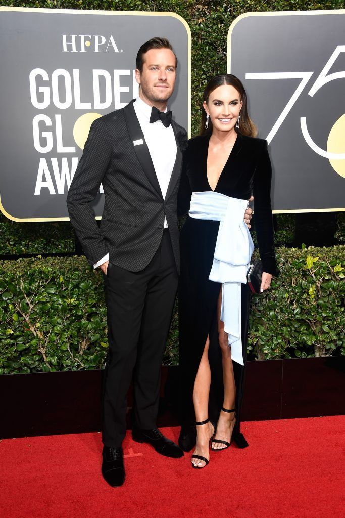 BEVERLY HILLS, CA - JANUARY 07:  Actor Armie Hammer (L) and Elizabeth Chambers attends The 75th Annual Golden Globe Awards at The Beverly Hilton Hotel on January 7, 2018 in Beverly Hills, California.  (Photo by Frazer Harrison/Getty Images)