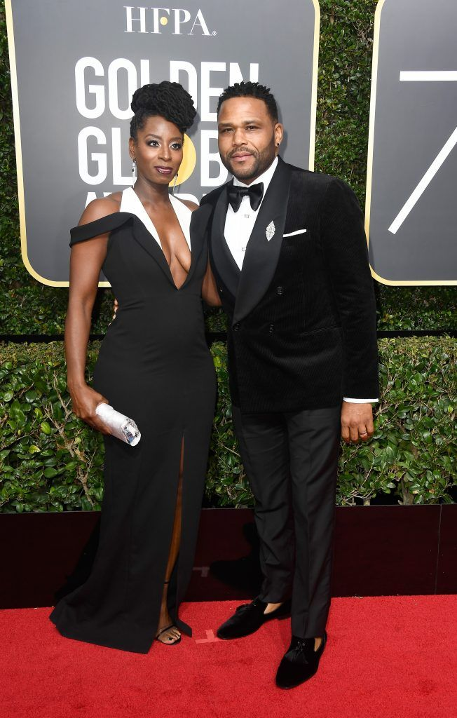 BEVERLY HILLS, CA - JANUARY 07:  Actor Anthony Anderson (R) and Alvina Stewart attend The 75th Annual Golden Globe Awards at The Beverly Hilton Hotel on January 7, 2018 in Beverly Hills, California.  (Photo by Frazer Harrison/Getty Images)