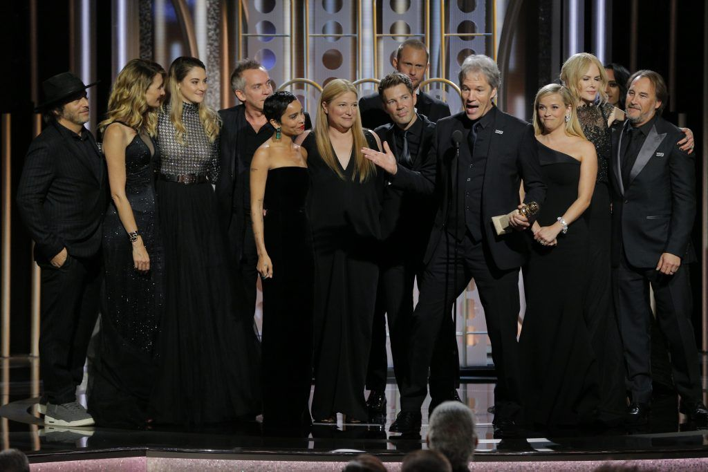 """BEVERLY HILLS, CA - JANUARY 07:  In this handout photo provided by NBCUniversal, David E. Kelley accepts the award for Best Television Limited Series or Motion Picture Made for Television for  """"Big Little Lies""""  during the 75th Annual Golden Globe Awards at The Beverly Hilton Hotel on January 7, 2018 in Beverly Hills, California.  (Photo by Paul Drinkwater/NBCUniversal via Getty Images)"""