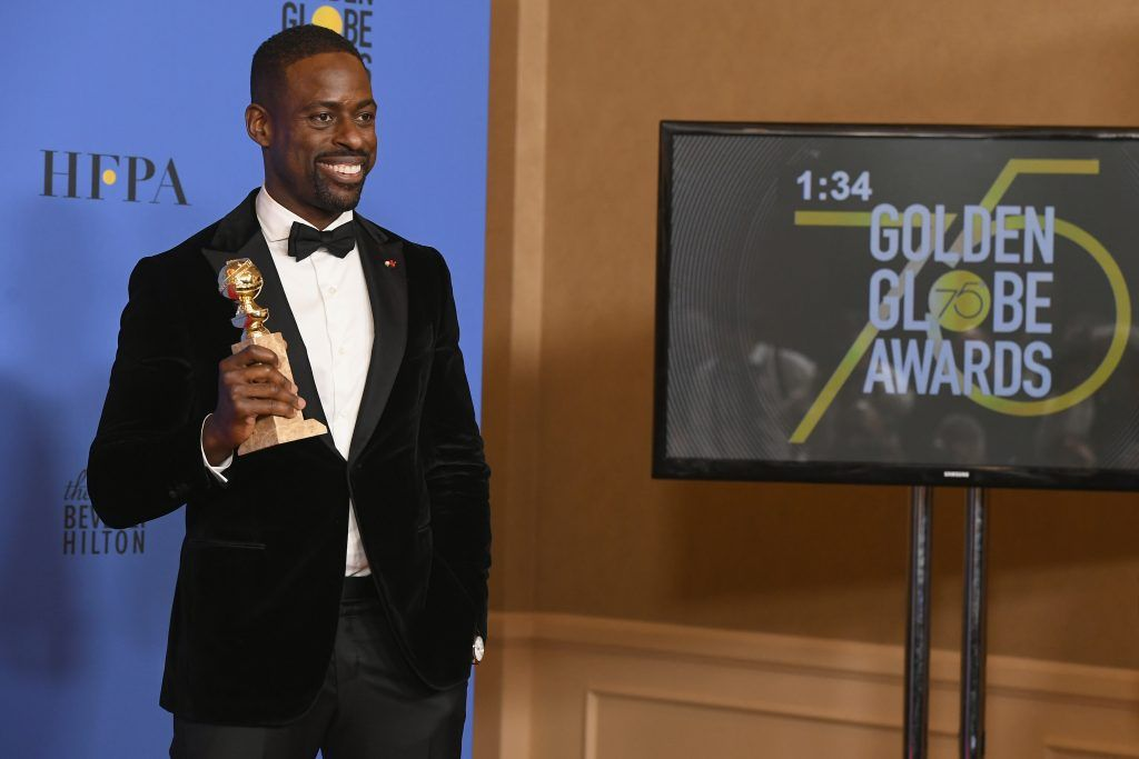 BEVERLY HILLS, CA - JANUARY 07:  Actor Sterling K. Brown holds his award for Best Performance by an Actor In A Television Series Drama in 'This Is Us' in the press room during The 75th Annual Golden Globe Awards at The Beverly Hilton Hotel on January 7, 2018 in Beverly Hills, California.  (Photo by Kevin Winter/Getty Images)