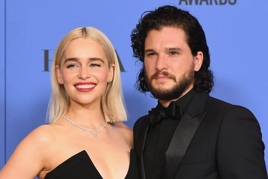 BEVERLY HILLS, CA - JANUARY 07:  (L-R) Actors Emilia Clarke and Kit Harington pose in the press room during The 75th Annual Golden Globe Awards at The Beverly Hilton Hotel on January 7, 2018 in Beverly Hills, California.  (Photo by Kevin Winter/Getty Images)