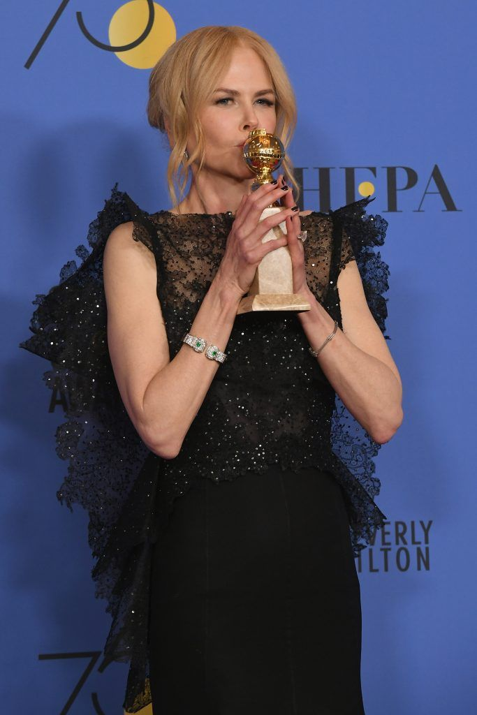 BEVERLY HILLS, CA - JANUARY 07:  Actor Nicole Kidman poses with the Best Performance by an Actress in a Limited Series or a Motion Picture Made for Television for 'Big Little Lies' in the press room during The 75th Annual Golden Globe Awards at The Beverly Hilton Hotel on January 7, 2018 in Beverly Hills, California.  (Photo by Kevin Winter/Getty Images)