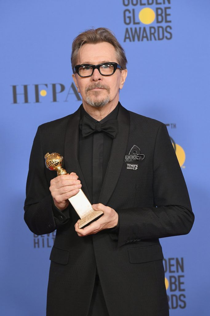 BEVERLY HILLS, CA - JANUARY 07:  Actor Gary Oldman poses with the award for Best Performance by an Actor in a Motion Picture Drama for 'Darkest Hour' in the press room during The 75th Annual Golden Globe Awards at The Beverly Hilton Hotel on January 7, 2018 in Beverly Hills, California.  (Photo by Kevin Winter/Getty Images)