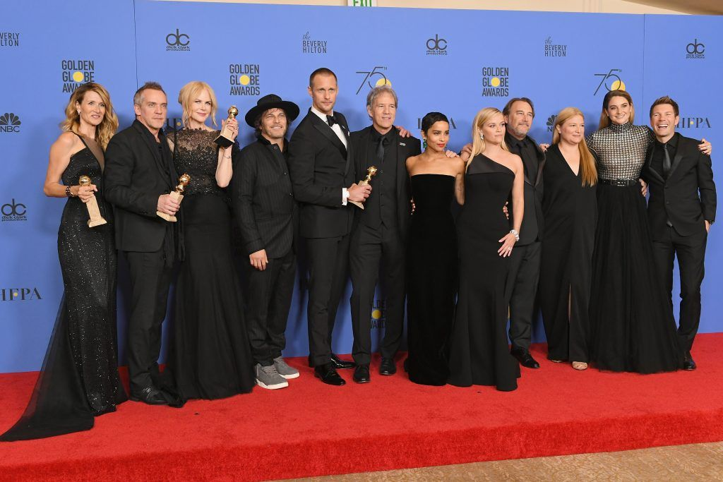 BEVERLY HILLS, CA - JANUARY 07:  (L-R) Laura Dern, Jean-Marc Vallee, Nicole Kidman, Nathan Ross, Alexander Skarsgård, David E. Kelley, Zoe Kravitz, Gregg Fienberg, Jeffrey Nordling, Bruna Papandrea, Shailene Woodley and Per Saari pose with the Best Television Limited Series or Motion Picture Made for Television award for 'Big Little Lies' in the press room during The 75th Annual Golden Globe Awards at The Beverly Hilton Hotel on January 7, 2018 in Beverly Hills, California.  (Photo by Kevin Winter/Getty Images)