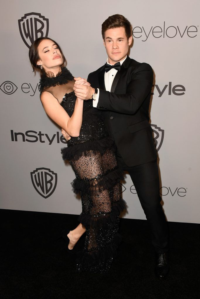 Actors Chloe Bridges (L) and Adam DeVine attend 19th Annual Post-Golden Globes Party hosted by Warner Bros. Pictures and InStyle at The Beverly Hilton Hotel on January 7, 2018 in Beverly Hills, California.  (Photo by Frazer Harrison/Getty Images)