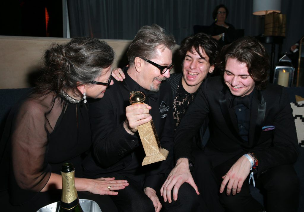 Gisele Schmidt, actor Gary Oldman, Charlie John Oldman  and Gulliver Flynn Oldman attend Focus Features Golden Globe Awards After Party on January 7, 2018 in Beverly Hills, California.  (Photo by Rich Fury/Getty Images)
