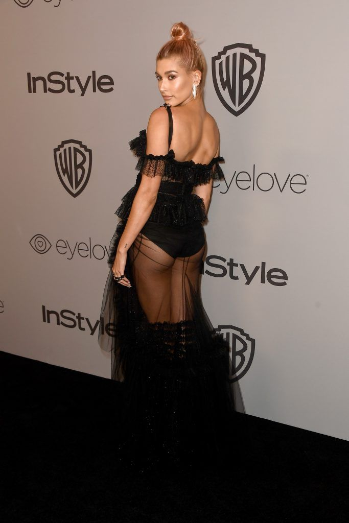 Actor Hailey Baldwin attends 19th Annual Post-Golden Globes Party hosted by Warner Bros. Pictures and InStyle at The Beverly Hilton Hotel on January 7, 2018 in Beverly Hills, California.  (Photo by Frazer Harrison/Getty Images)