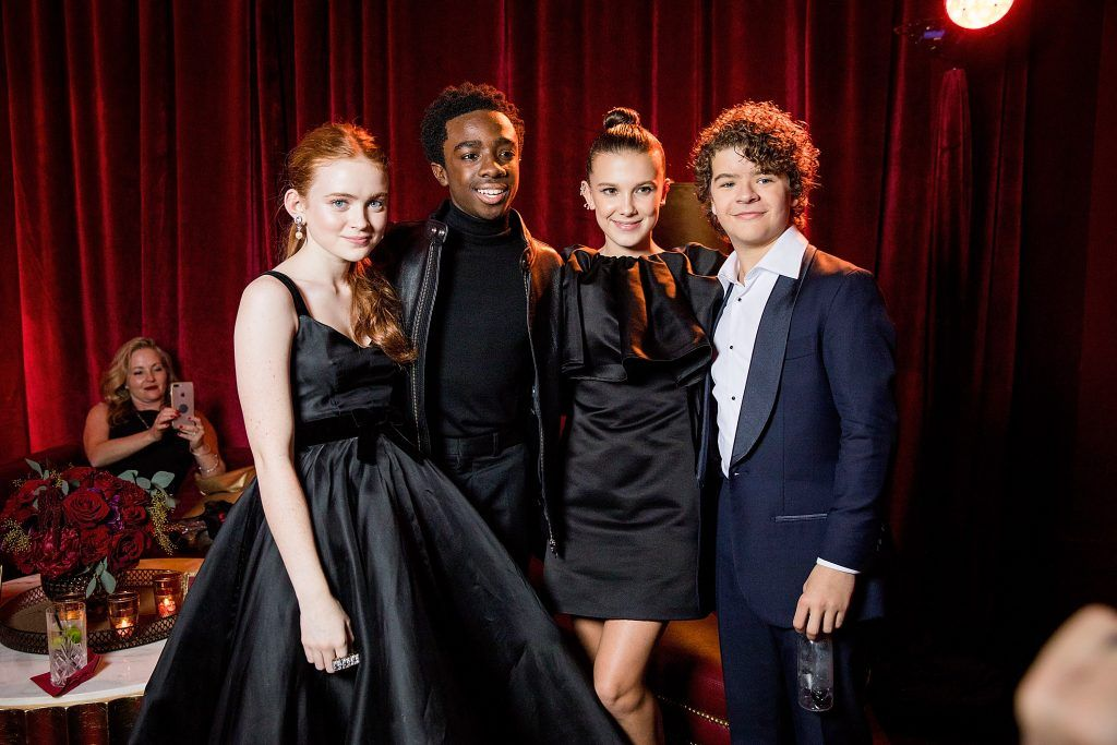 Sadie Sink, Caleb McLaughlin, Millie Bobby Brown and Gaten Matarazzo attend the Netflix Golden Globes after party at Waldorf Astoria Beverly Hills on January 7, 2018 in Beverly Hills, California.  (Photo by Netflix via Getty Images)