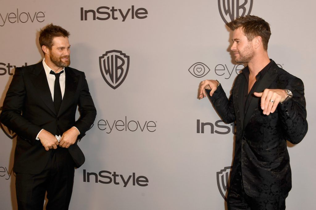 Actors Geoff Stults and  Chris Hemsworth attend 19th Annual Post-Golden Globes Party hosted by Warner Bros. Pictures and InStyle at The Beverly Hilton Hotel on January 7, 2018 in Beverly Hills, California.  (Photo by Frazer Harrison/Getty Images)