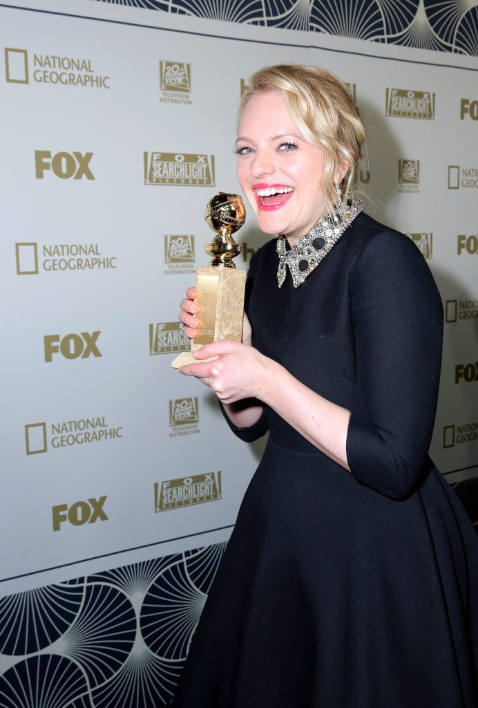Actor Elisabeth Moss, winner of Best Performance by an Actress in a Television Series - Drama for 'The Handmaid's Tale,' attends Hulu's 2018 Golden Globes After Party at The Beverly Hilton Hotel on January 7, 2018 in Beverly Hills, California.  (Photo by Rachel Murray/Getty Images for Hulu)