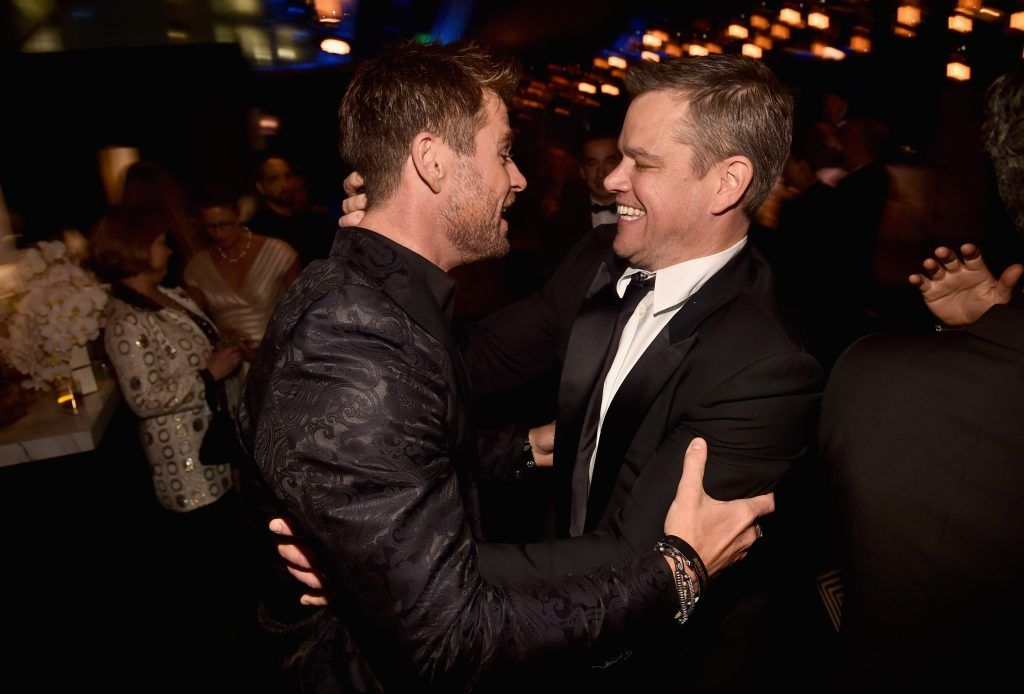 Actors Chris Hemsworth (L) and Matt Damon attend Amazon Studios' Golden Globes Celebration at The Beverly Hilton Hotel on January 7, 2018 in Beverly Hills, California.  (Photo by Alberto E. Rodriguez/Getty Images)