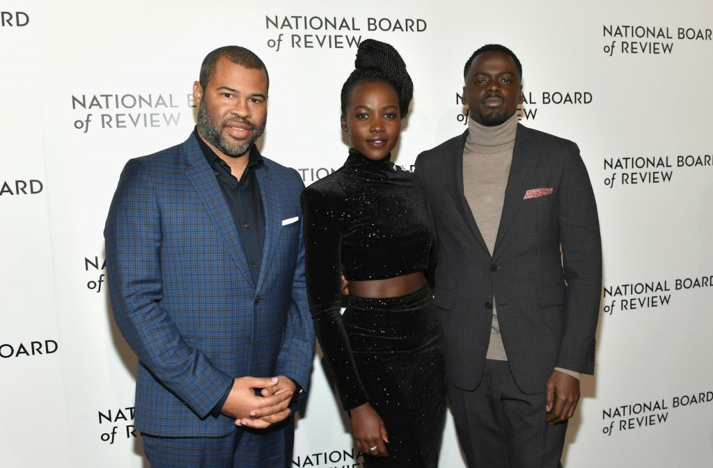 Director Jordan Peele, actors Lupita Nyong'o and Daniel Kaluuya  attend the 2018 The National Board Of Review Annual Awards Gala at Cipriani 42nd Street on January 9, 2018 in New York City.  (Photo by Mike Coppola/Getty Images)