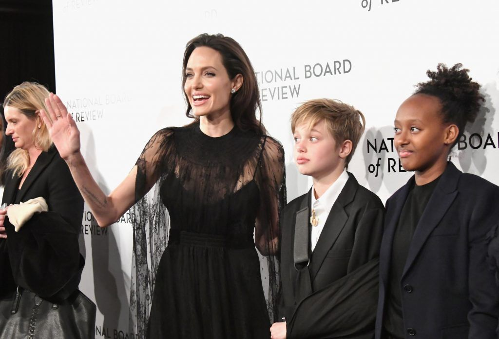 Actor Angelina Jolie, Knox Leon Jolie-Pitt and Zahara Marley Jolie-Pitt attend the 2018 The National Board Of Review Annual Awards Gala at Cipriani 42nd Street on January 9, 2018 in New York City.  (Photo by Mike Coppola/Getty Images)