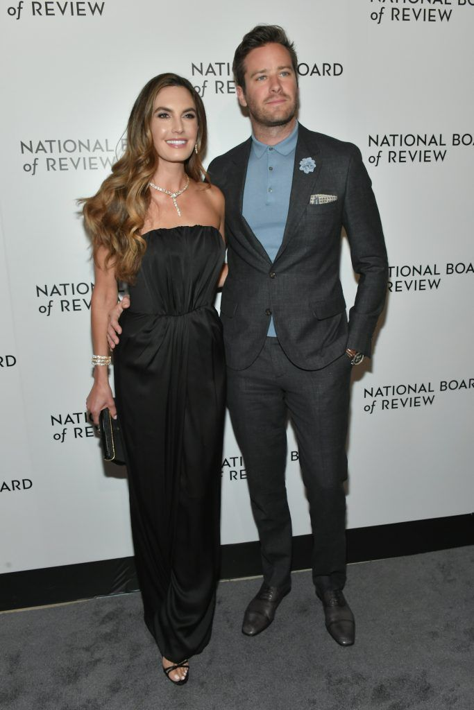 Actor Elizabeth Chambers (L) and Armie Hammer attend the 2018 The National Board Of Review Annual Awards Gala at Cipriani 42nd Street on January 9, 2018 in New York City.  (Photo by Mike Coppola/Getty Images)
